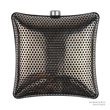 Stella McCartney Gunmetal Silver Satin-Lined Perforated Box Clutch Shoulder Bag