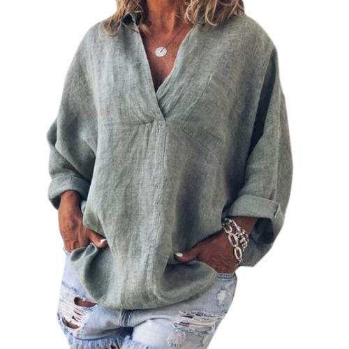 Plus Size Womens Cotton Linen Tee Summer Casual Loose Tunic Blouse Tops T-Shirt