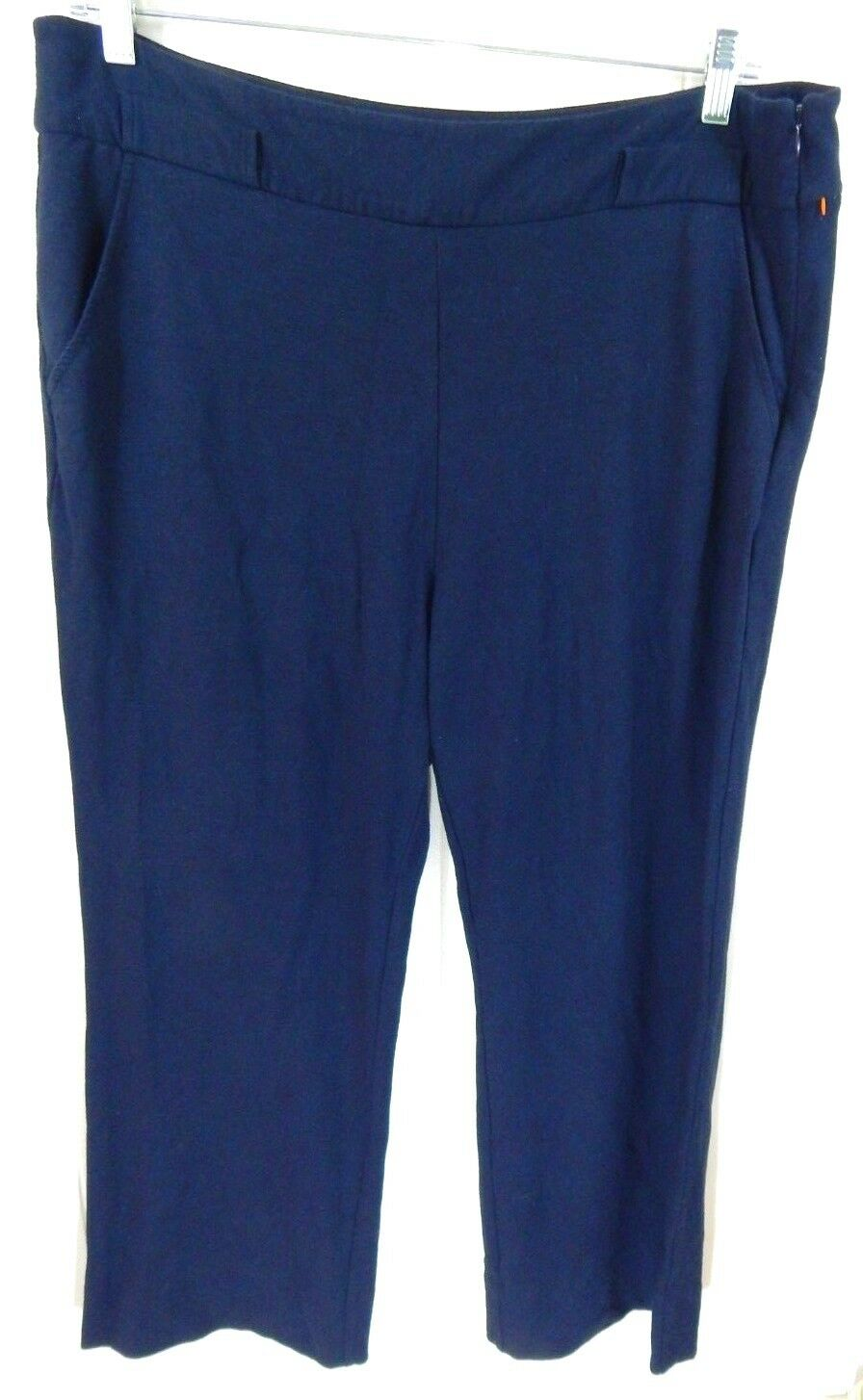 Cabi Women's 16 Pants Easy Crop Navy Knit High Waist Spring 2017 EUC