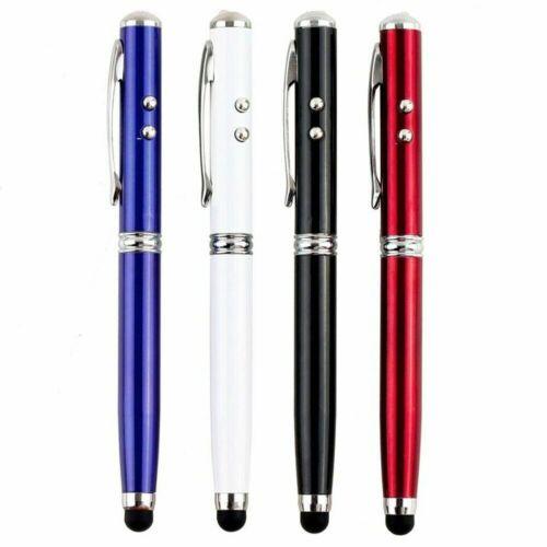 4 In 1 Laser Pointer LED Torch Screen Stylus Ball Pen Portable V8T9