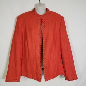 Alfred-Dunner-Womens-Jacket-Size-12-Open-Front-Blazer-Lined-Embellished-Suede