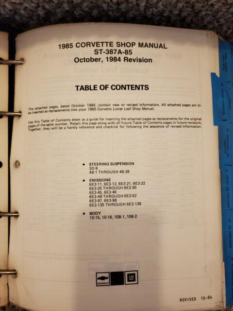 1985 Corvette Shop Manual 85 Chevy Chevrolet