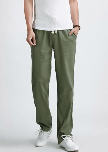 NEW Men Summer Breathable Loose Linen Pants Beach Drawstring Long Slacks Trouser