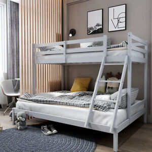 Bunk Beds Triple Sleeper Wooden Double Bed Frame Grey Kids Bedstead w/ Stairs UK