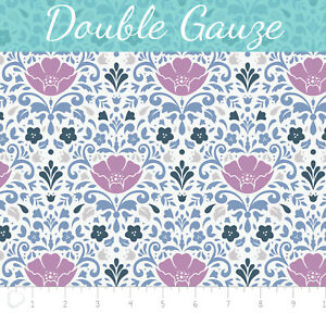 Floral-Orchid-Color-Double-Gauze-Damask-Swaddling-100-Cotton-fabric-by-the-yard