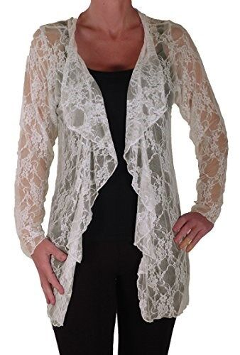 Womens Long Sleeve Open Lace Mesh Floral Plus Size Waterfall Jersey Cardigan