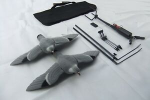 PIGEON-MAGNET-ROTARY-TWO-FLOCKED-DECOYS-Remote-Hunting-Bag-Spreaders-SHOOTING