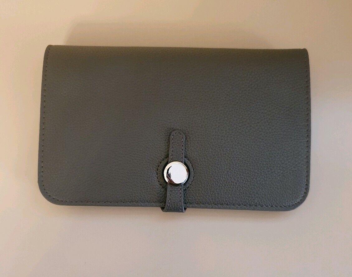 New Ladies Dark Grey Dogon Style Wallet Purse Card Passport Holder 2 Piece