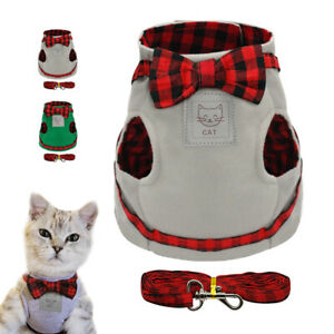 Cat-Leash-amp-Harness-Set-Small-Kitten-Pet-Puppy-Dog-Strap-Vest-Soft-Chest-Clothes