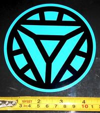 Ironman 2 Arc Reactor - HQ Black on Light Blue 4.5in x 4.5in Vinyl Sticker Decal