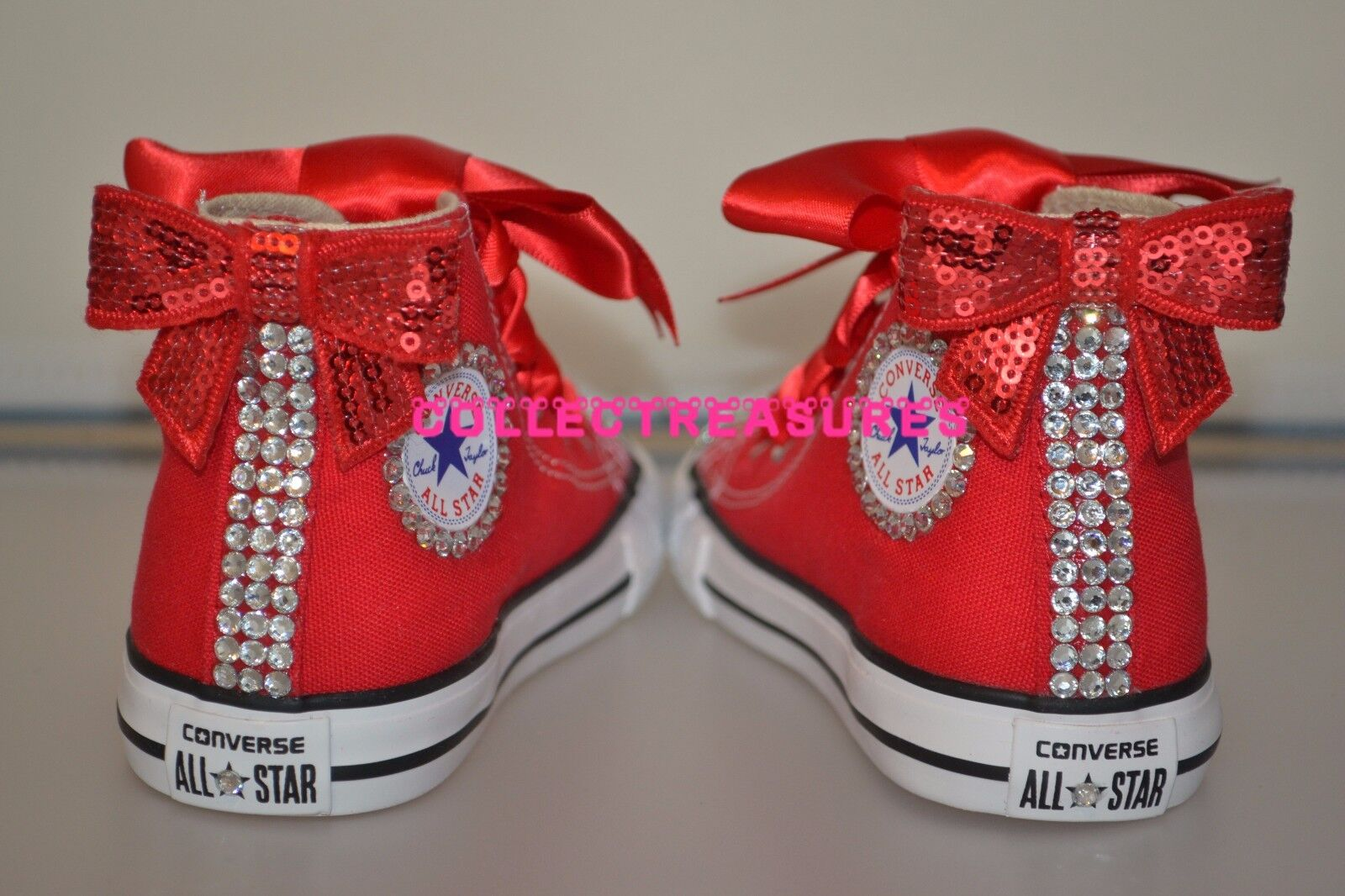 Custom Crystal Diamante Bling ROT Party 3 Wedding Converse Größe UK 3 Party 4 5 6 7 8 9 762c44