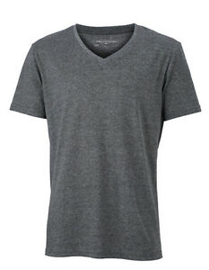 Men-039-s-T-Shirt-with-V-Neck-Short-Sleeve-Cotton-Blend-Shirt-170-g-m-S-3XL