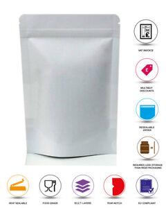 WHITE-PAPER-Stand-Up-Sacchetto-carta-Kraft-caffe-sacchetto-in-MYLAR-Zip-Lock-Heat-Seal-Bag