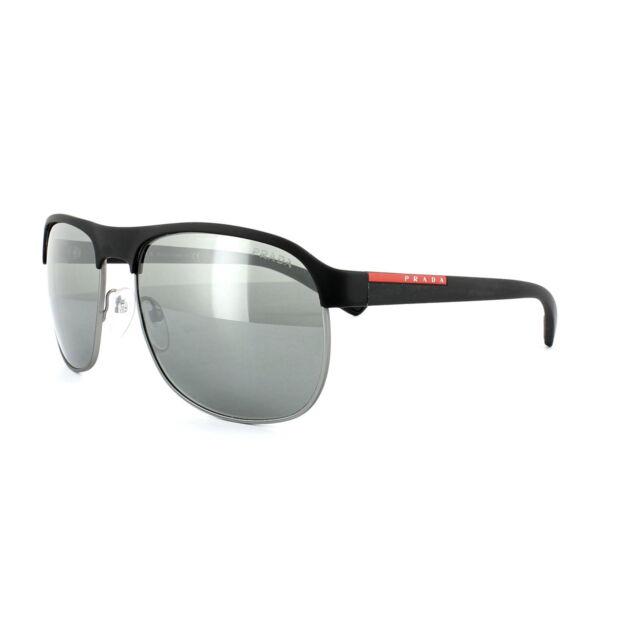 f95b86fe62375 Prada Sport Sunglasses 51QS DG07W1 Black   Gunmetal Rubber Grey Silver  Mirror