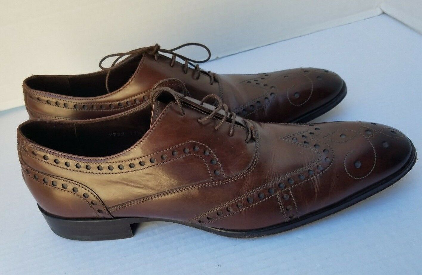Oxford by Adam Derrick Wing Tip Brown Lace DRESS Leather shoes 11.5 Made