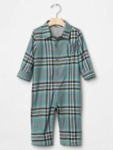 4761535a8375 GAP Baby Boys Size 6-12 Months Blue Green Gray Plaid One-Piece ...