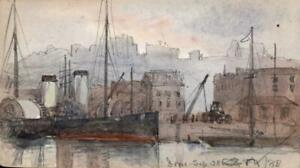 EMILY-GEORGIANA-HOWARD-Small-Watercolour-Painting-BOATS-AT-DOVER-HARBOUR-1888