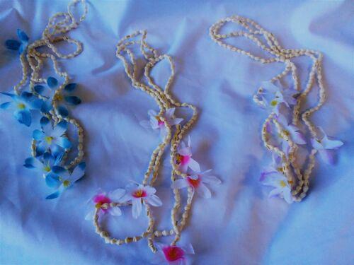 Seashell Necklace Tropical Hawaiian Hibiscus Flowers Mini Conch Shell Luau Lei