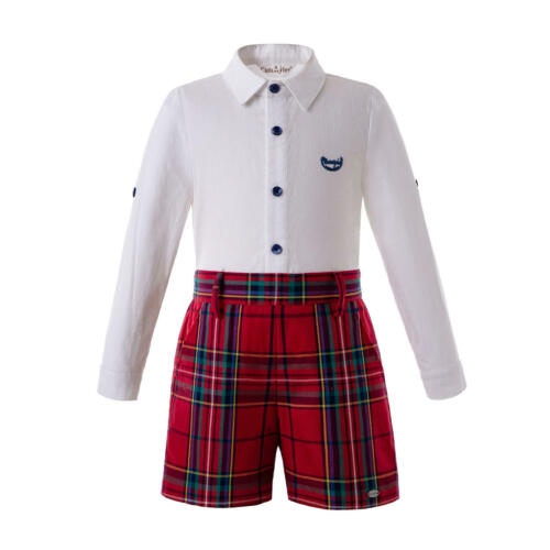 Spanish Kid Boys Christmas Outfit Long Sleeve Tartan Shirts+Pants Party Red 2-8Y