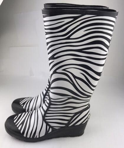 Michael Kors Womens Zebra Rain Boots Black White … - image 1