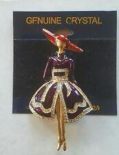 Red Hat Lady Purple Dress Lauren Spencer Brooch Pin Jewelery Genuine Crystal New