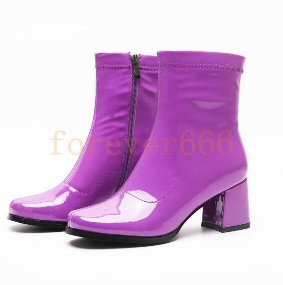 Chic Schuhe Damen Stiefeletten Eckig Blockabsatz Schuhe Chic Lackleder Hoher Absatz Neu 967d38