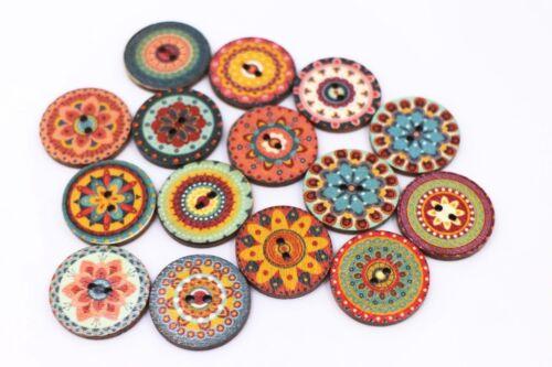 Bohème boutons Grand plat bois coudre boho ethnique Deux Trous Rond 25 mm 50pcs