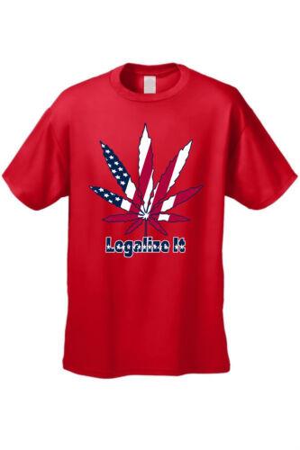 MEN/'S RED USA FLAG T-SHIRT Legalize It AMERICAN WEED POT MARIJUANA LEAF S-4X 5X