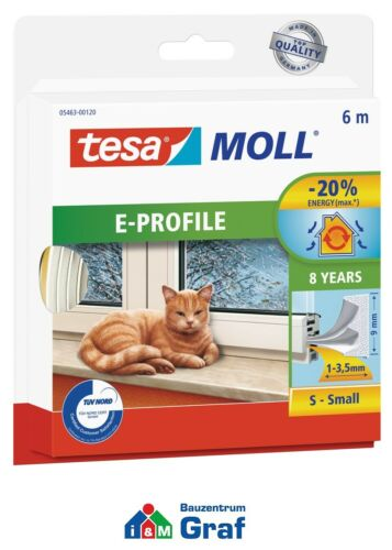 braun 1-3,5mm 6m weiß tesamoll® E-Profil Small Gummidichtung für Fenster//Tür