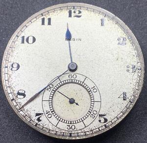 Elgin-Grade-384-Pocket-Watch-Movement-Openface-12s-17j-Model-3-for-repair-F4125