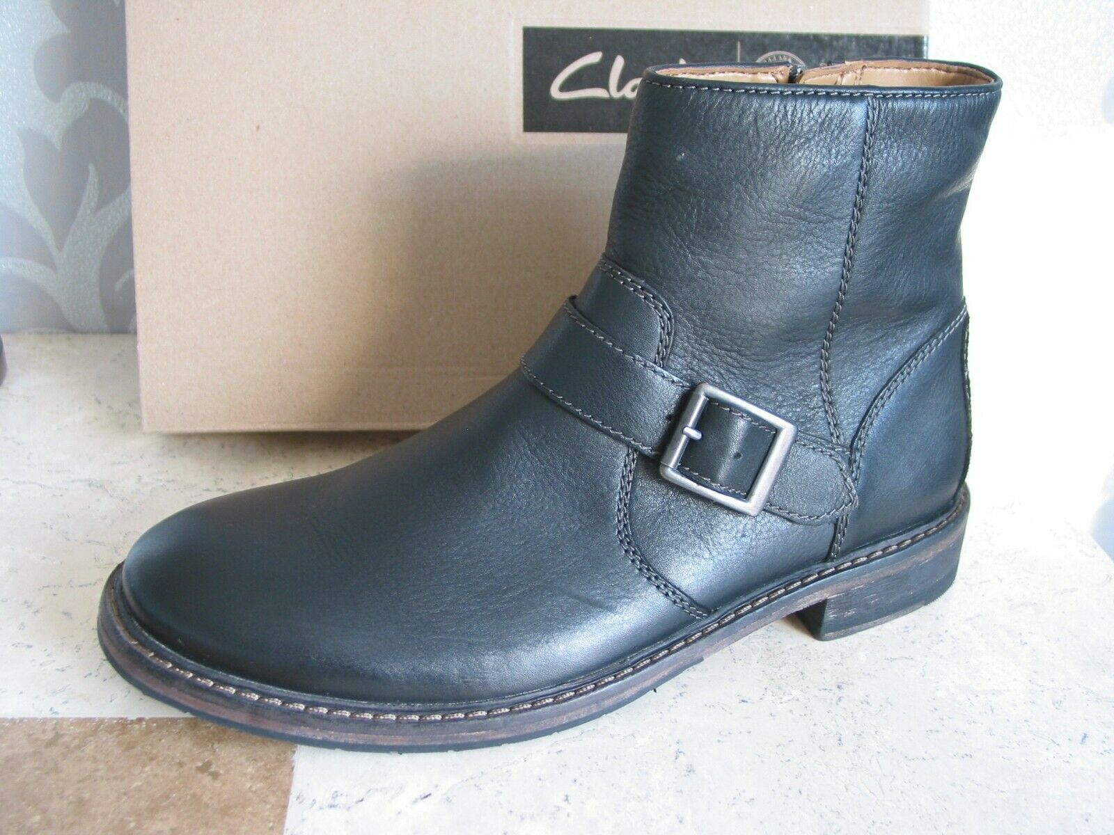 NEW CLARKS CLARKDALE SPARE BLACK LEATHER ANKLE BOOTS SIZE 8 & 6
