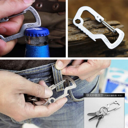 Outdoor Survival Camping Hiking Rescue Gear Mini Carabiner Keychain Multi Tool