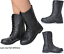 Womans-Chelsea-Ankle-Black-Zip-Grip-Soles-Chunky-Festival-Boots-Flat-High-Heel thumbnail 3
