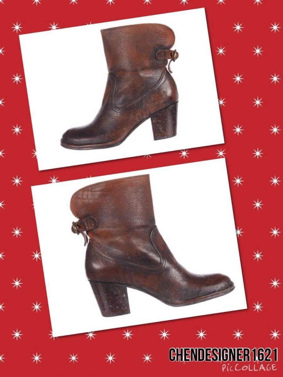 Frye size 6 US Lucinda Short Cognac Brown Stone Antiqued Leather Ankle Boots