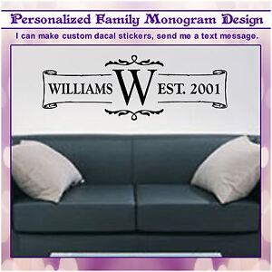 Last Name Family Monogram Wall Vinyl Graphic 34 x 12 Home Decor Family Decal 075