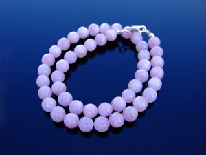 Kunzite-Natural-Gemstone-Necklace-8mm-Beaded-Silver-16-30inch-Healing-Stone