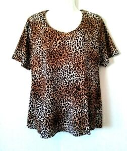 WOMEN-039-S-ALLISON-DALEY-II-LEOPARD-ANIMAL-PRINT-SHORT-SLEEVE-STRETCHY-TOP-SIZE-2X