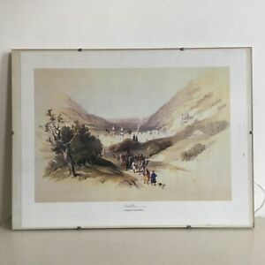 Vintage-Lithograph-Print-Nablus-1839-by-David-Roberts-Glass-Frame