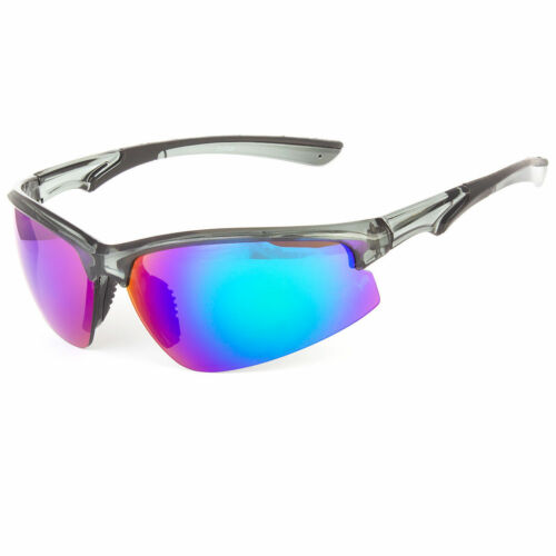 Vertex Half Frame Mens Mirrored Lens Wrap Around Sport Cycling Baseball Sunglass