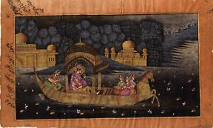 Handmade-Indian-islamic-painting-Emperor-amp-Empress-enjoying-romance-with-music