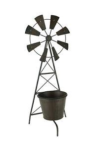 Distressed Metal Farmhouse Garden Windmill Trellis Planter with Pot