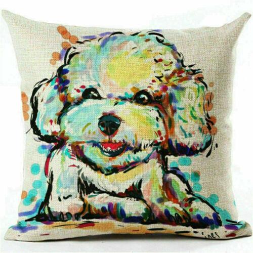 18in Cute Pet Dog Pillow Cover Throw Pillow Case Sofa Cushion Cover Home Decor