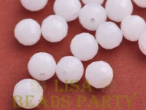 Hot-20pcs-8mm-96-Facets-Round-Loose-Spacer-Glass-Beads-Bulk-Jade-White
