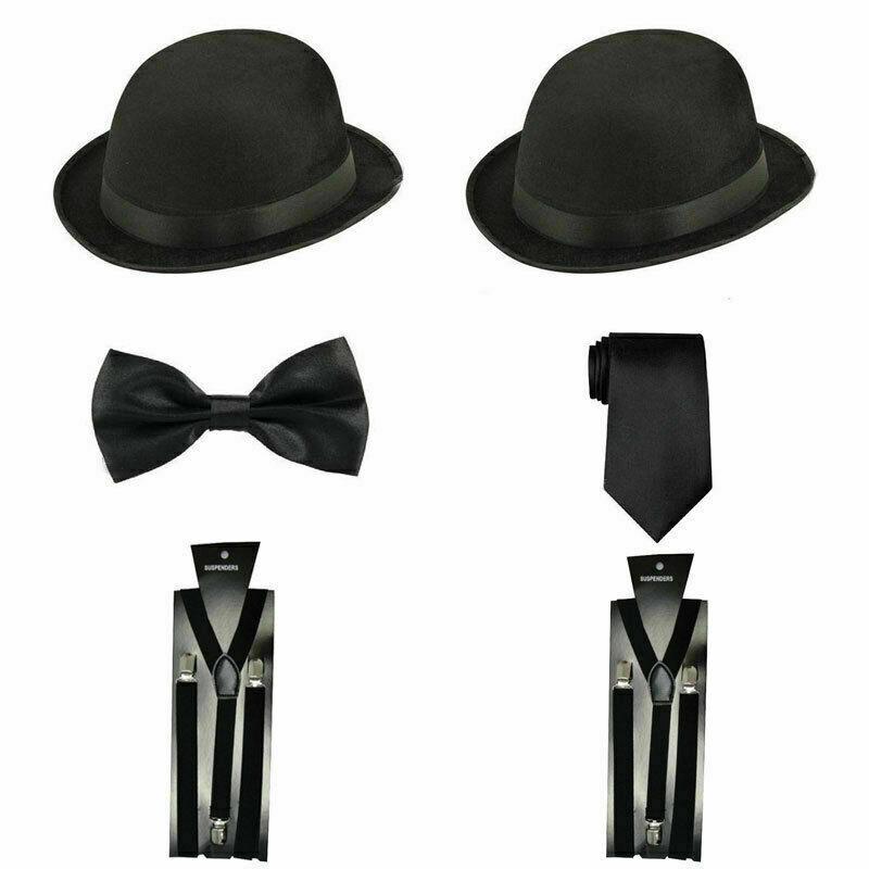 Laurel & Hardy Vintage Black Bowler Hat Bow Tie Fancy Dress Accessories 3Pcs Set