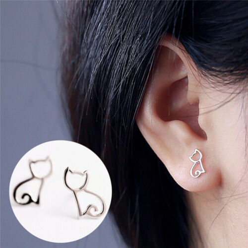 1 Pair Silver Plated Elegant Earrings Lovely Hollow Out Cats CartoonEarringsUV