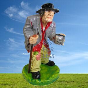Bettler Figur Statue Skulptur Penner Landstreicher Deko Wanderer Gartenfigur neu