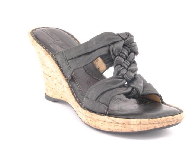 New BORN Women Blk Leather Strappy Cork Wedge High Heel Slide Sandal shoes Sz 7 M
