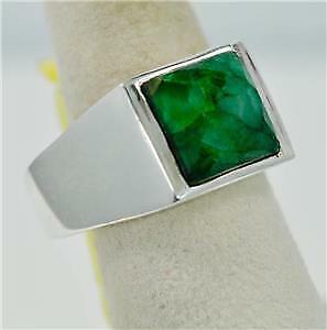 Raw Emerald peut Pierre porte-bonheur simple et élégant Argent 925 Homme Anneau #r0229 P3121