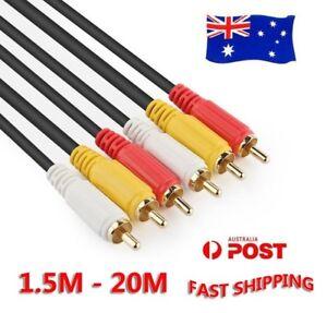 Long-3RCA-3-RCA-Male-M-M-Stereo-Audio-Video-DVD-HDTV-AV-Cable-Copper-Cord-20m-5m