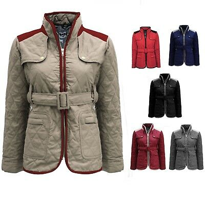 WOMENS JACKET NEW LADIES QUILTED FUR COLLAR PADDED BUTTON ZIP COAT SIZE 8-14